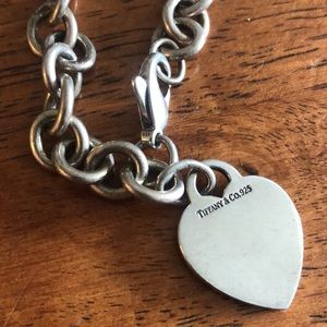 Tiffany 925 Silver Heart and Chain Link Bracelet